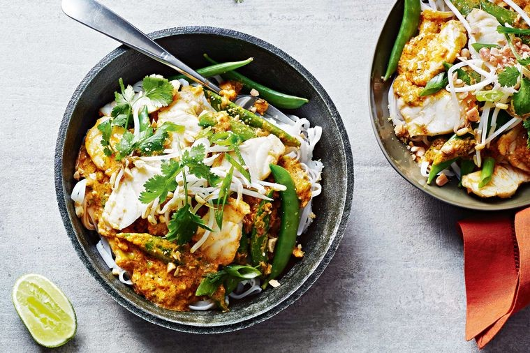 Easy Thai Fish Curry with Noodles
