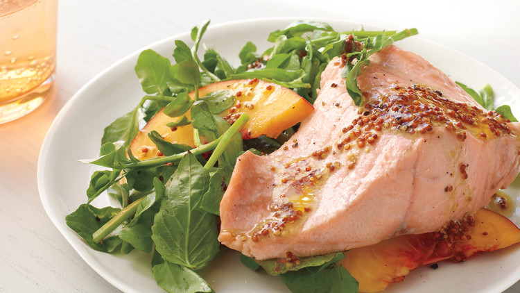 Poached Salmon and Watercress with Peaches
